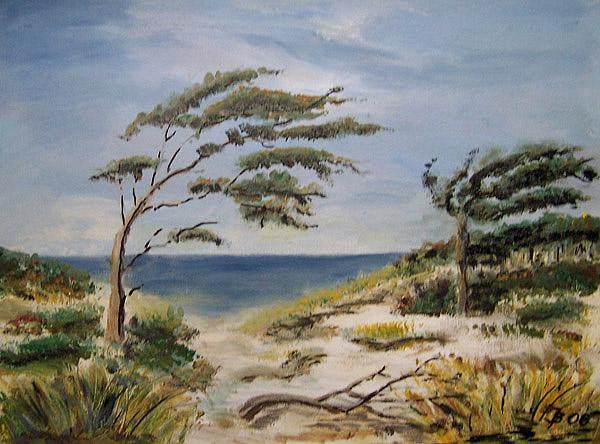 Windflüchter am Weststrand, gemalt