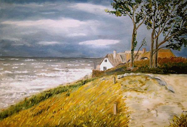 Ahrenshoop, Haus an der Steilküste, gemalt