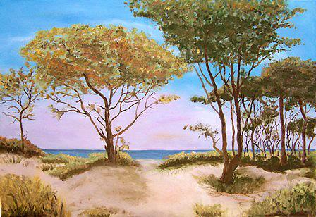 Blick durch die Bäume am Weststrand, gemalt