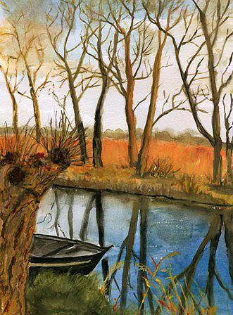 Boot auf dem Fluss im Herbst, gemalt