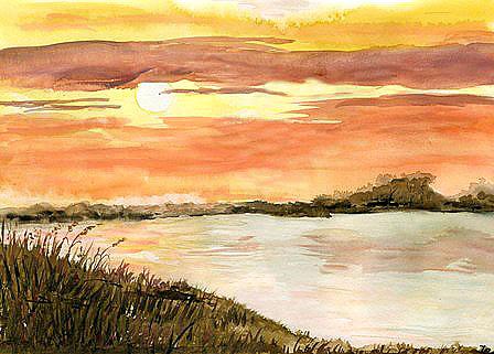 Gemalter Sonnenuntergang am Bodden.