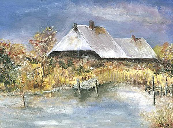 Bauernhof im Winter.