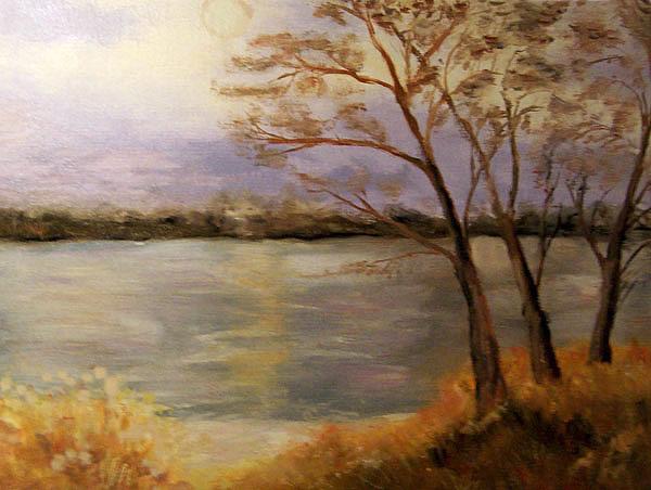 Bäume am See, gemalt