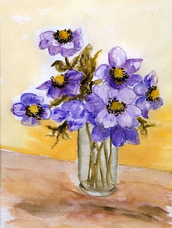 Blumen mit Vase, gemalt