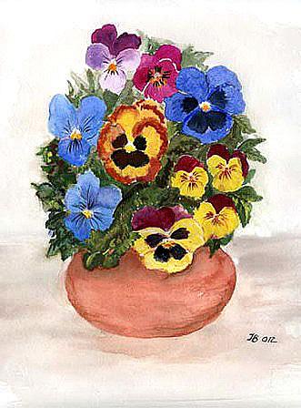 Stiefmütterchen in der Vase, gemalt