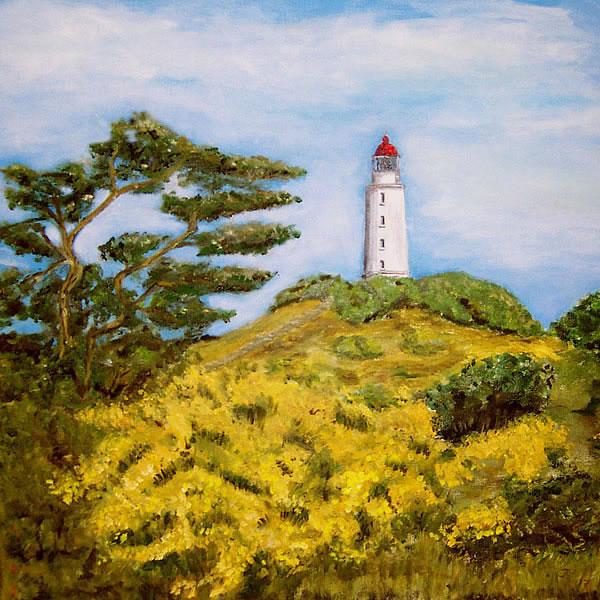 Leuchtturm auf der Insel Hiddensee, gemalt