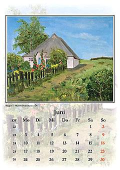 rohrgedecktes Bauernhaus, gemalt