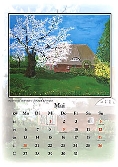 Frühling auf dem Dorf, gemalt