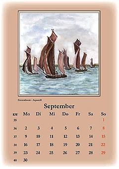 September 2013 Zeesboote auf dem Bodden, gemalt