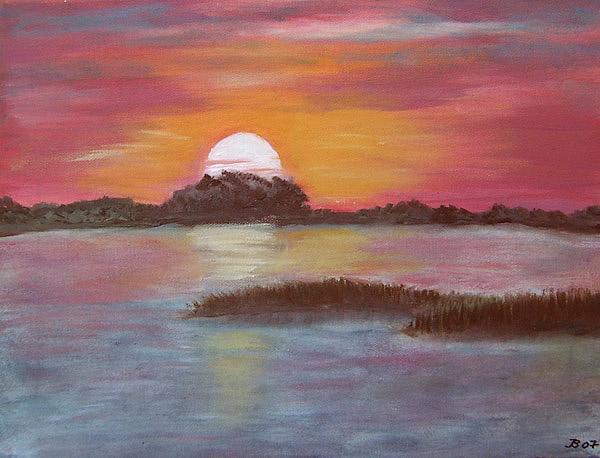 Sonnenuntergang am Bodden, gemalt
