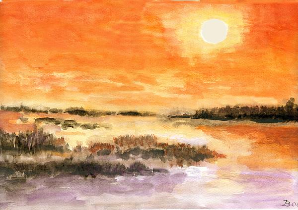 Sonnenuntergang am Bodden.