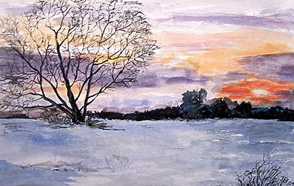 Winterabend, gemalt
