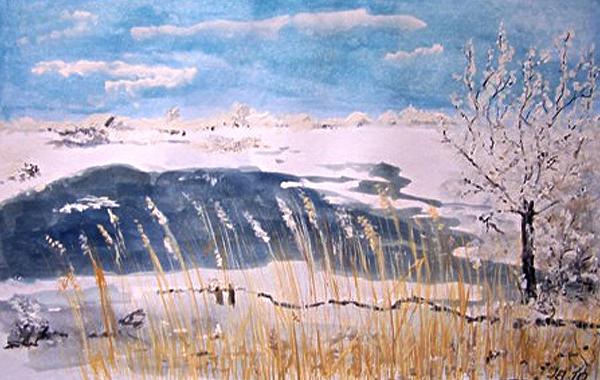 Winter am Bodden, gemalt