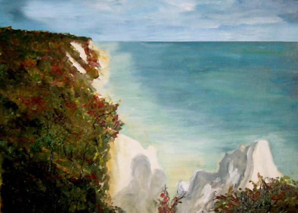 Wittower Klinken. Gemalt. Kreidefelsen auf der Insel Rügen, gemalt von Inge-Lore Bertow