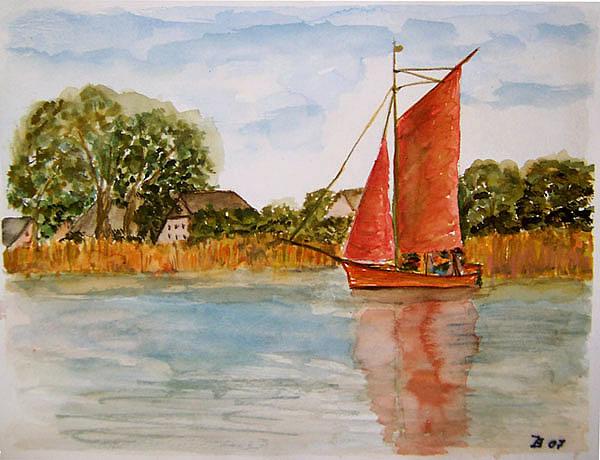 Zeesboot auf dem Bodden bei Wustrow. Aquarell.