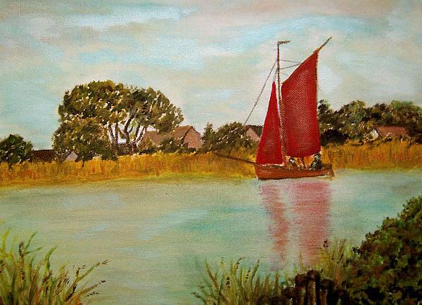 Zeesboot auf dem Bodden, gemalt von Inge-Lore Bertow